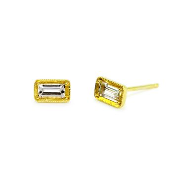 White Sapphire 14Kt Yellow Gold Earrings