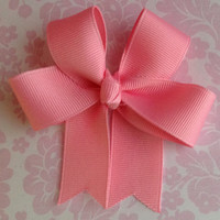 Tails Down Bow, Girls Hair Bow, Grosgrain Hair Bow, Girls Hair Accessory, Pink Tails Down Hair Bow