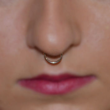 Gold SEPTUM RING // 14g Nose Ring / Small Hoop Earring / tragus/cartilage/helix piercing 14 gauge jewelry