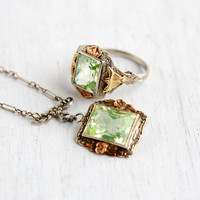 Antique 14k White, Yellow, & Rose Gold Art Deco Floral Necklace and Matching Ring - Vintage 1920s 1930s Green Spinel Fine Jewelry Set