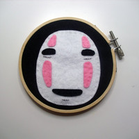 Spirited Away No-Face Hoop Embroidery. Ghibli.