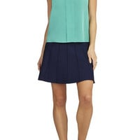 BCBG Vanesa Sleeveless Folded-Placket Top