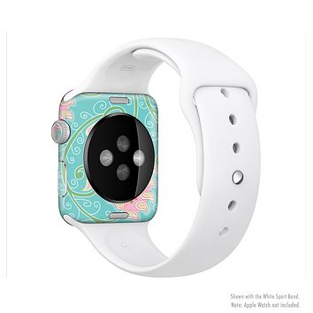 The Pink & Teal Paisley Design Full-Body Skin Kit for the Apple Watch