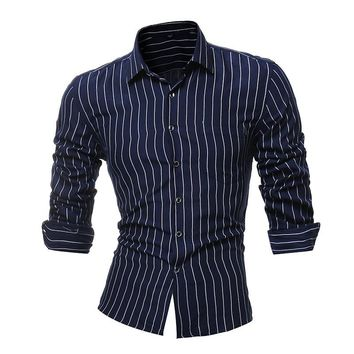 New Fashion Long Sleeve Shirt Men  Striped Dress Shirt with Left Chest Pocket Male Casual Regular-fit Buttoned Down Shirts