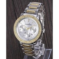 PANDORA Hot Sale Vintage Fashion Watch Round Ladies Women Men Wristwatch Silvery+Golden I-YY-ZT