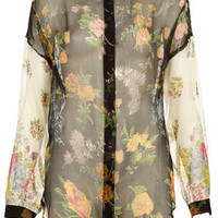 Oversize Patch Floral Shirt - Blouses & Shirts - Tops  - Clothing