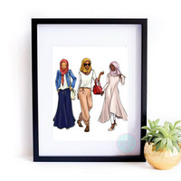 PRINTABLE ART Fashion Illustration Fashion Print Women Of Color Hijab Fashion Hijab Printable Fashion Blogger Hijab Fashion Print