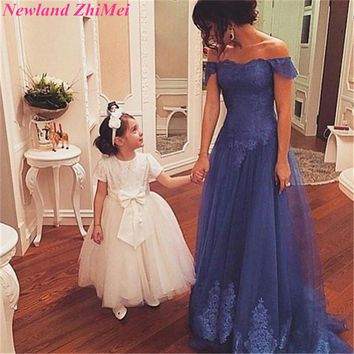 Vintage Off the Shoudler Evening Dresses New Arrival A Line Appliques Tulle Long Dress for Prom Night vestido de gala