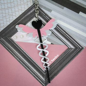 Medical Wand Pink Necklace