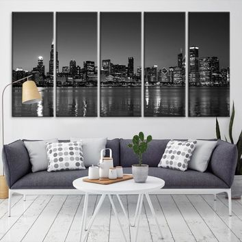67435 - Chicago Wall Art Canvas Print - Extra Large Chicago City Night Canvas Print - Chicago Skyline Night Canvas Print