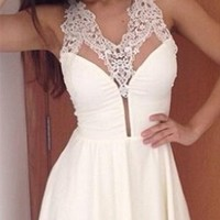 White Sheer Mesh Lace Sleeveless V Neck Skater Circle A Line Flare Mini Dress