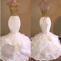 Spaghetti Straps Mermaid Prom Dress with Gold Bodice Womem's Formal Dress