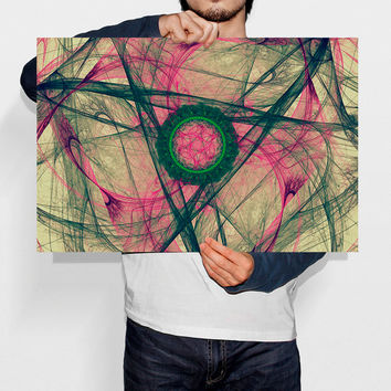Medallion Nebula Abstract Geometric Print Pattern Energy Art Modern Home Decor Green Circle Fractal Art Printable Wall Art