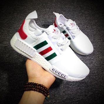 DCC3W Gucci x Cucci x Adidas Consortium NMD R1 White Boost Sport Running Shoes Classic Casual Shoes Sneakers