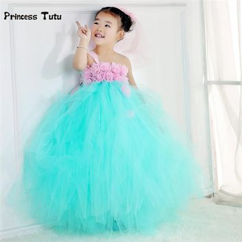 Handmade Baby Girl Party Tutu Dress Tulle Mint Green Princess Flower Girl Dresses Kids Pageant Birthday Wedding Dresses 2-14Y