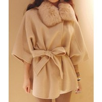 Cream Fur Wrap Coat