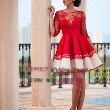 Illusion Jewel Neck 2016 Short Half Sleeves Red Lace Ruched Elegant Women Formal Party Prom Dresses Cheap Mini Cocktail Gowns