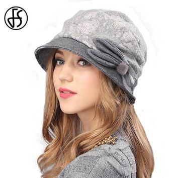 FS Lady Elegant Winter Knit Beret Hat For Women Gorra Boinas Fashion Gray Brown Wool Brim Warm Cap With Floral Berets Femme