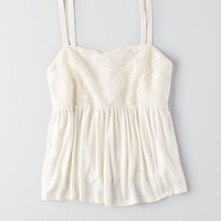 AEO Women's Vintage High Neck Tank (Chalk)