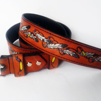 Leather Belt, Purography, Feathers, Leather Belt, Exclusive, Indian feathers, Gift for men, Gift for woman