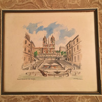 Original Signed Watercolor of Famous Rome Catholic Church Trinita Dei Monti, Roman Catholic Church