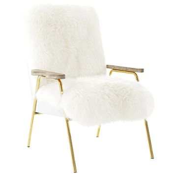 Authentic Australian Wool Armchair With Gold Accents