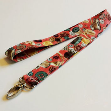 Sewing with Buttons & Thread Lanyard Sewing Lover Fashion Accessories ID or Badge Holder Seamstress Coral Print Fabric Lanyard for Keys