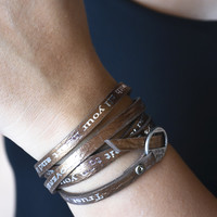 Bible Verse Wrapped Leather Bracelets | Proverbs 3:5-6
