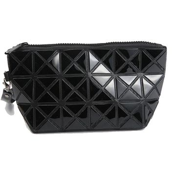 Women Cosmetic Bag Geometric Stitching Long Section Of Pu Leather Clutch Phone Package Organizator Sac Maquillage