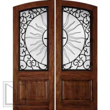 jeld-wen 1260 Mahogany Doors Cherry Finish with Helios Grille