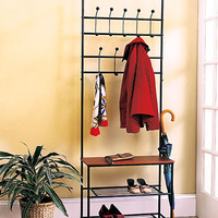 Entryway Bench with Rack Home Accessory