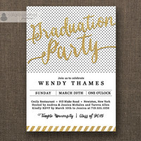 Gold & Black Graduation Party Invitation Gold Glitter Stripes Black Dots Modern Gold Script Bachelorette DIY Digital or Printed- Wendy