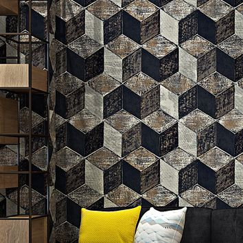 High Quality 3D Stereoscopic Geometric Lattice Wallpaper PVC Waterproof Embossed Living Room TV Backdrop Wall Papers Home Decor