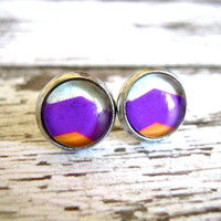 Chevron Magenta Stud Earrings : Glass Post Jewelry