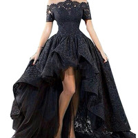 Charming Customized Black Lace Evening Gown Hi Low Sexy Off The Shoulder Boat Neck Prom Party Evening Dress Vestidos Para Festa