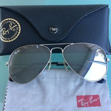 Ray Ban Silver Mirror Aviators Women's Small Excellent Condition