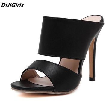 Women High Heels Mules shoes - Women Black Roman Gladiator Sandals Shoes Lady Pumps High-Heeled Slippers