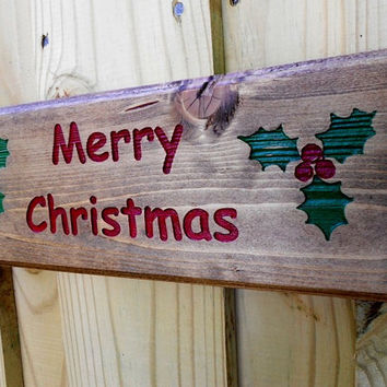 Rustic Merry Christmas Plaque, carved Merry Christmas, hand painted, Christmas decor, pine plaque
