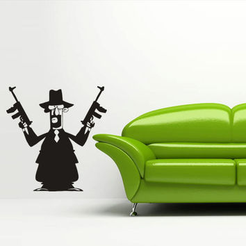Wall decal art decor decals sticker bedroom hand power man grouping gangster mafia showdown gun pistol (m48)