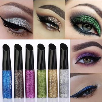 2017 New Eyeliner Brand Make Up for Women Quick Dry Pigment Blue Silver Gold Liquid Glitter Eye Liner Waterproof Makeup