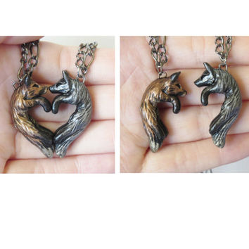 Fox Love Necklace His and Hers Heart Kissing Couple