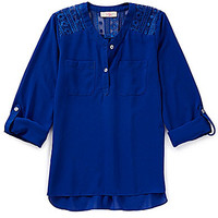 GB Girls 7-16 Floral Lace Tunic Top - Cobalt