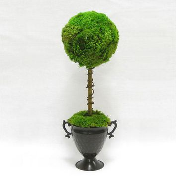 Metal Trophy Urn ~ One Ball Moss Topiary