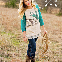 * Ropes & Reins Turquoise Lace Sleeve Top