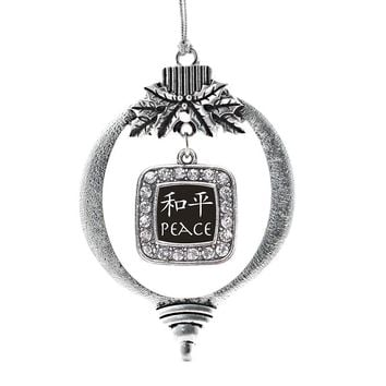 Peace In Chinese Square Charm Holiday Ornament