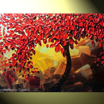 "Original Abstract Red Tree of Life Palette Knife Painting, Abstract Textured Painting, Red Autumn Floral, Brown Gold, 36x24"" -Christine"