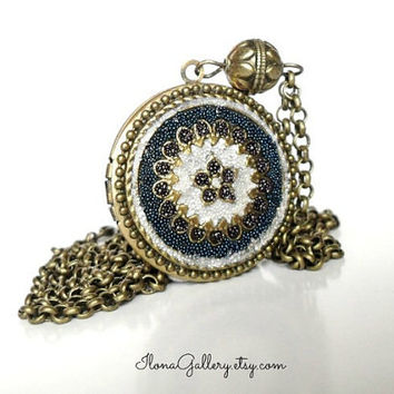 Navy Blue Filigree Locket-Micro Beads Jewelry-Something Blue Necklace-Flower Locket-Bride Gift-Bride Locket Photo Locket Brass Locket Boho