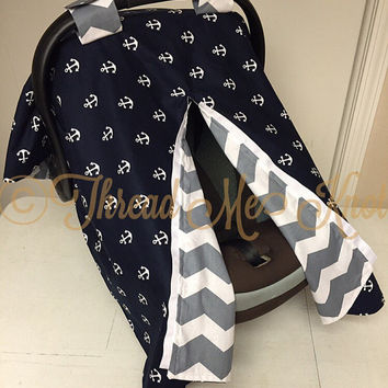 Anchor & Gray Chevron Car Seat Canopy