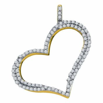 10kt Yellow Gold Women's Round Diamond Outline Heart Pendant 1-3 Cttw - FREE Shipping (US/CAN)