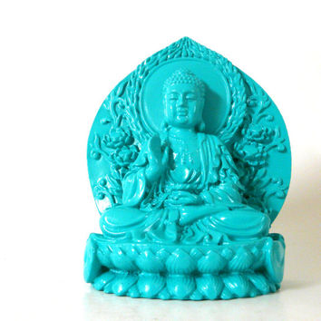 buddha sculpture, lotus, sitting buddha, buddha art, zen, modern home decor, emerald kelly green